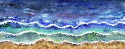 Staff Picks Cortney Herron - Beach Art Long Meditative Waves Watercolor  by Irina Sztukowski