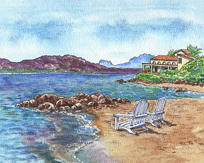 Royalty-Free and Rights-Managed Images - Beach House And Two Lounge Chairs At The Sea Shore Sardinia Italy Watercolor  by Irina Sztukowski