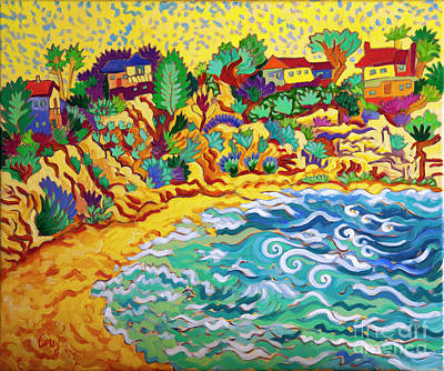 Painting - Beach Houses on a Bluff by Cathy Carey