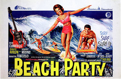 Mixed Media Royalty Free Images - Beach Party movie poster 1963 Royalty-Free Image by Stars on Art