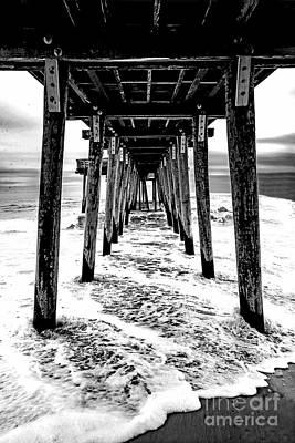 David Bowie - Beach Surf under a Pier-Black and White by Regina Geoghan