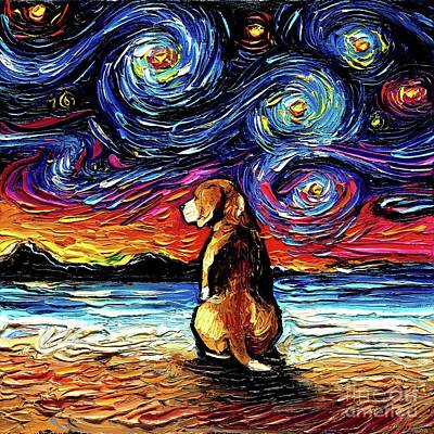 Painting - Beagle Night 2 by Aja Trier