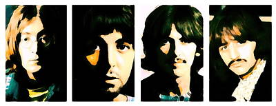 Music Royalty-Free and Rights-Managed Images - Beatles portrait painting Lennon, McCartney, Harrison and Starr by Artista Fratta