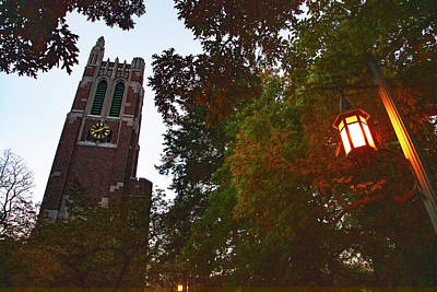 Fruits And Vegetables Still Life - Beaumont Tower at sunrise with lamp by Eldon McGraw