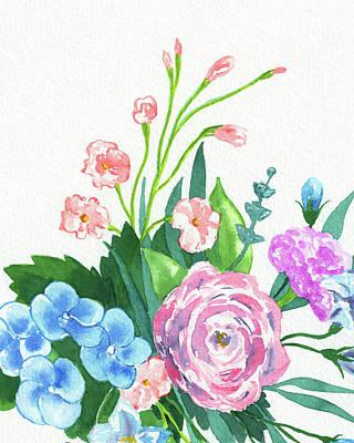 The Beach House - Beautiful Botanical Bouquet Pink And Blue by Irina Sztukowski