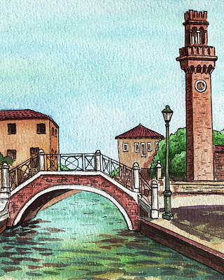 Royalty-Free and Rights-Managed Images - Beautiful Bridge Over Venetian Canal And The Tower  by Irina Sztukowski
