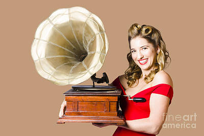 Priska Wettstein Pink Hues - Beautiful disco diner pinup with gramophone by Jorgo Photography