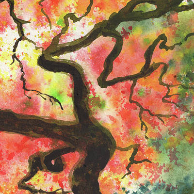 Royalty-Free and Rights-Managed Images - Beautiful Fall Tree Splash Of Season Watercolor III by Irina Sztukowski