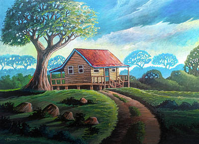 Surrealism Royalty-Free and Rights-Managed Images - Little Cabin on a Hill by Anthony Mwangi