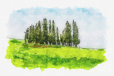 Mixed Media - Aquarelle sketch art. Beautiful spring minimalistic landscape with Italian Cypress on the green hill by Beautiful Things