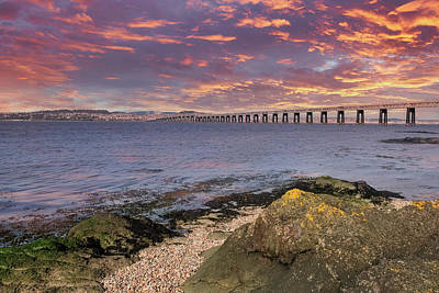 Fleetwood Mac - Beautiful Tay Railway Bridge in Dundee at the end of the day at  by Jim McDowall
