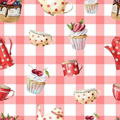 Royalty-Free and Rights-Managed Images - Beautiful watercolor seamless pattern with teapots, cups, cakes, cupcakes, tablecloth flowers, labels. invitation cards, kitchen decor, greeting cards, posters, scrapbooking, print, wallpaper by Julien