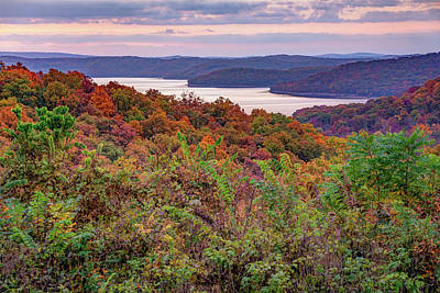 Landscapes Royalty-Free and Rights-Managed Images - Beaver Lake At Dusk - Northwest Arkansas Autumn Landscape by Gregory Ballos