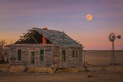 Royalty-Free and Rights-Managed Images - Beaver Moonrise over the Homestead by Darren White