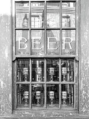 Photograph - Beer in the Window BW by Sharon Popek