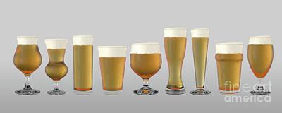 Digital Art - Beer Pints by Allan Swart
