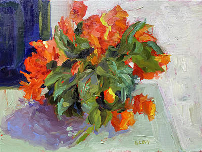 Painting - Begonias On a Porch Table by Bart Levy