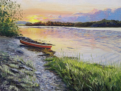Painting - Bellamy River Sunset by Susan E Hanna