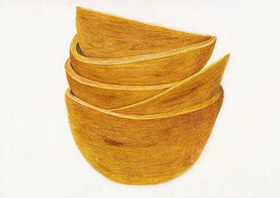 Drawings Royalty Free Images - Beloved Wooden Salad Bowls Royalty-Free Image by Conni Schaftenaar