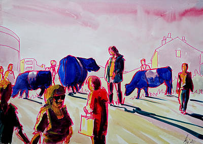 Surrealism Royalty-Free and Rights-Managed Images - Belted galloway cows and people surreal painting by Mike Jory