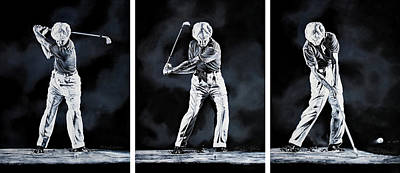 Recently Sold - Sports Royalty-Free and Rights-Managed Images - Ben Hogan Golf Swing Triptych by Hanne Lore Koehler