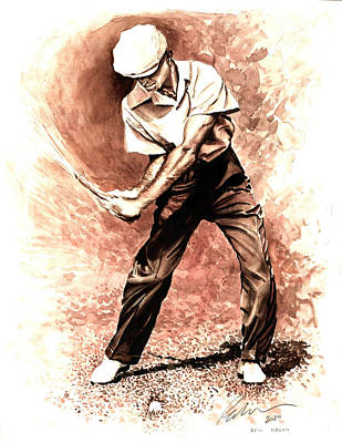 Painting - Ben Hogan Watercolour by Mark Robinson