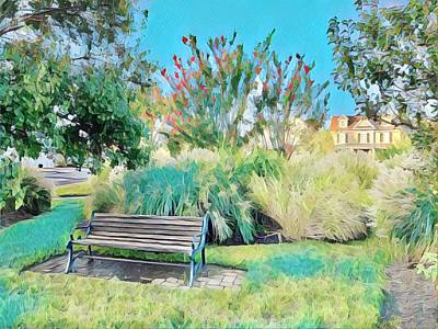 Surrealism Royalty-Free and Rights-Managed Images - Bench in Peaceful Park by Surreal Jersey Shore