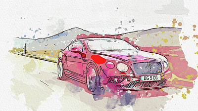 Priska Wettstein Pink Hues - Bentley Continental GT Speed -  Modern Cars Poster, watercolors ca 2020 by Ahmet Asar by Celestial Images
