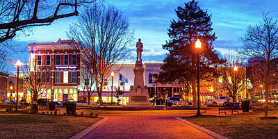 Royalty-Free and Rights-Managed Images - Bentonville Arkansas Town Square and City Skyline Panorama - Color Edition by Gregory Ballos