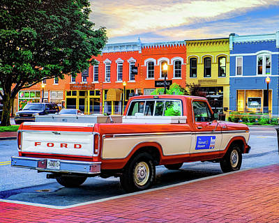 Kitchen Food And Drink Signs - Bentonville Skyline and Old Walton Truck at Sunrise by Gregory Ballos