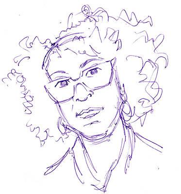 Personalized Name License Plates - Bernardine Evaristo Portrait ball point pen sketch by Mike Jory