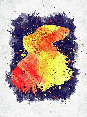Marvelous Marble - Beta fish watercolor by Mihaela Pater