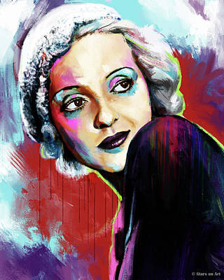 Winter Animals Rights Managed Images - Bette Davis painting Royalty-Free Image by Stars on Art