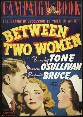 Mixed Media Royalty Free Images - Between Two Women, with Franchot Tone and Maureen OSullivan, 1937 Royalty-Free Image by Stars on Art