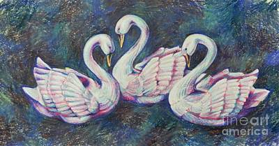 Still Life Drawings - Bevy of Swans by K M Pawelec