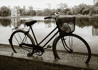 Curated Beach Towels - Bicycle by Hoan Kiem Lake by Dave Bowman
