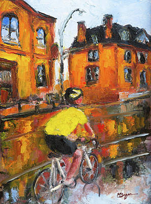 Painting - Bicycling in Halifax  by Mike Bergen