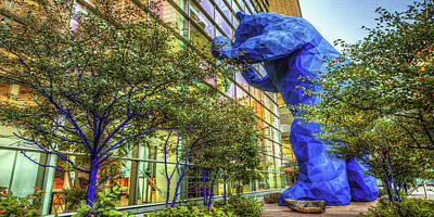 Curated Beach Towels - Big Denver Blue Bear Panorama - Colorado Convention Center by Gregory Ballos