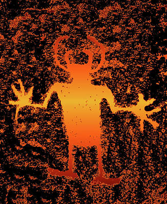 Olympic Sports - Big Hands prehistoric rock art Utah USA by David Lee Thompson