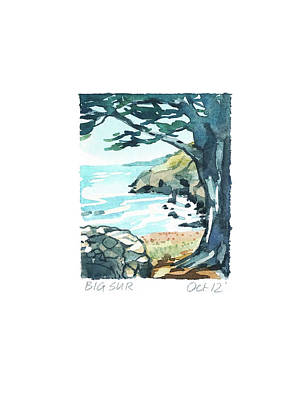 Target Threshold Watercolor - Big Sur by Luisa Millicent