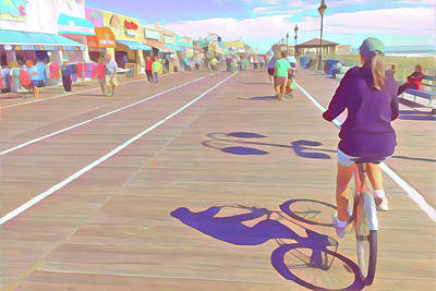 Surrealism Royalty-Free and Rights-Managed Images - Bike Riding on the Boardwalk by Surreal Jersey Shore