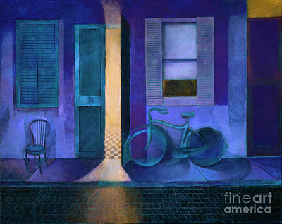 Painting - Bike under a Blue Moon by Mike Chambers
