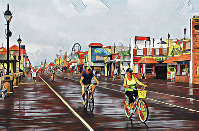Surrealism Royalty-Free and Rights-Managed Images - Biking on the Boards after the Rain by Surreal Jersey Shore