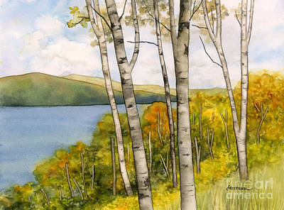 Katharine Hepburn - Birch Trees and Autumn Foliage by Hailey E Herrera