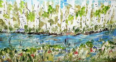Granger - Birch Trees in Spring  by Rose Elaine