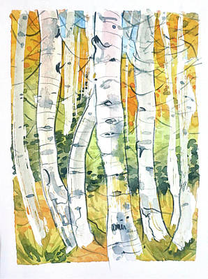 Roaring Red - Birch Trees by Luisa Millicent