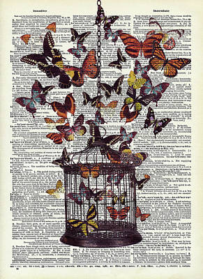 Animals Digital Art - Bird cage with butterflies by Mihaela Pater