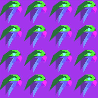 Royalty-Free and Rights-Managed Images - Bird Pattern WPAP Style purple background by Ahmad Nusyirwan