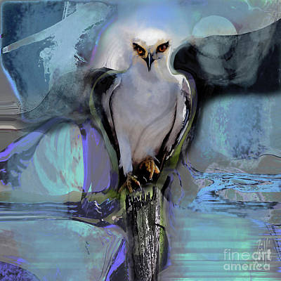 Mixed Media Royalty Free Images - Birds Black-Winged Kite Royalty-Free Image by Zsanan Studio