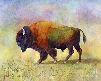 Clouds Rights Managed Images - Bison Bull-pastel colors Royalty-Free Image by Hailey E Herrera